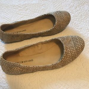 Lucky Brand Emmie ballet flats in a taupe tweed